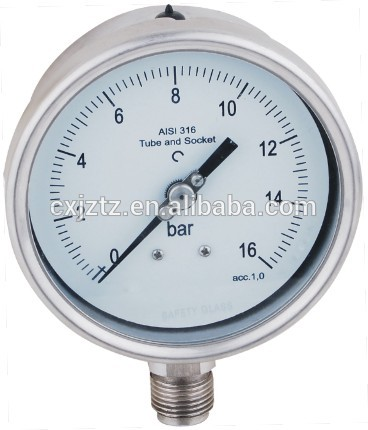 160mm Mbar Low Pressure Gauge All Stanless Steel Manometer With Bottom Connection