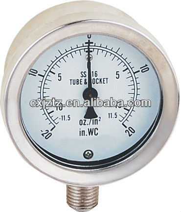 63mm Bottom St.St. Capsule Mbar Gas Pressure Gauge