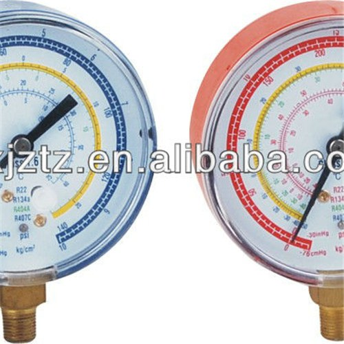 80mm Blue /Red Steel Case Refrigerant Pressure Gauge In Snap On Plastic Window