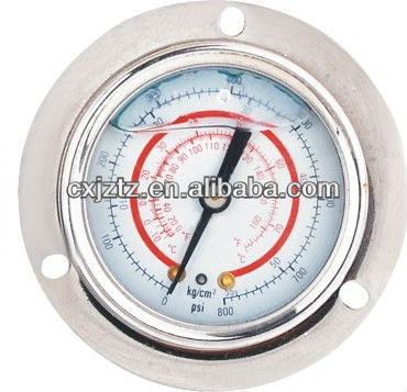 63mm Stainless Steel Case Silicone Oil Filled Freon Pressure Gauge